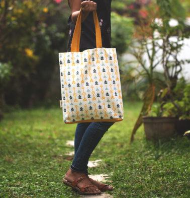 Aztec Arrows Cotton Tote Bag Citrus Yellow