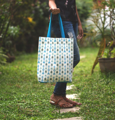 Aztec Arrows Cotton Tote Bag Vivid Blue