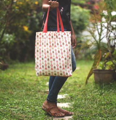 Aztec Arrows Cotton Tote Bag Fiesta Red