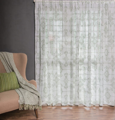 Customizable Sheer Curtain, Cotton - Classic Lines - Mint Green