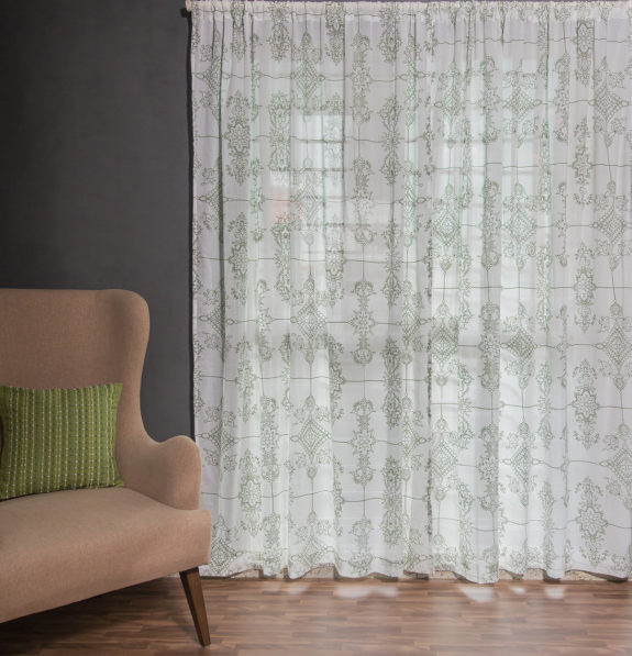 Classic Lines Cotton Sheer Custom Curtain Mint Green