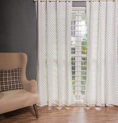 Customizable Curtain, Cotton - Diamond Lines - Brown