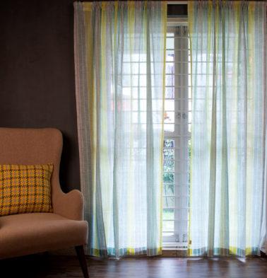Customizable Sheer Curtain, Cotton - Muted Chevron Stroke