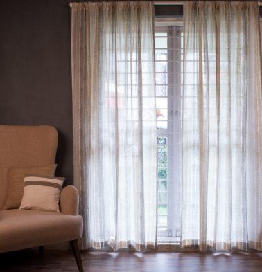 Customizable Sheer Curtain, Cotton - Raw Chevron Stroke