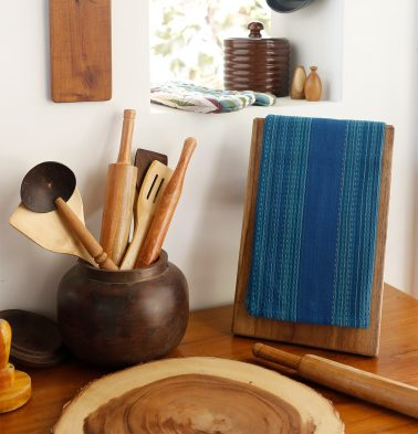 Honeycomb Cotton Kitchen Towel Blue