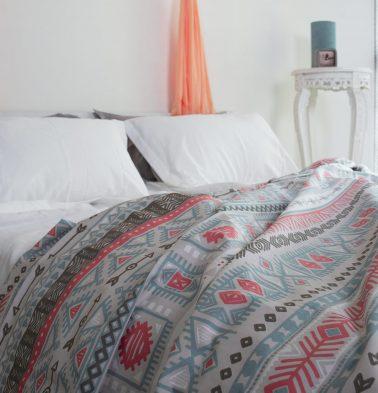 Aztec Cotton Duvet Cover Red