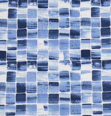 Customizable Curtain, Cotton - Brush Stroke Cubes  Blue