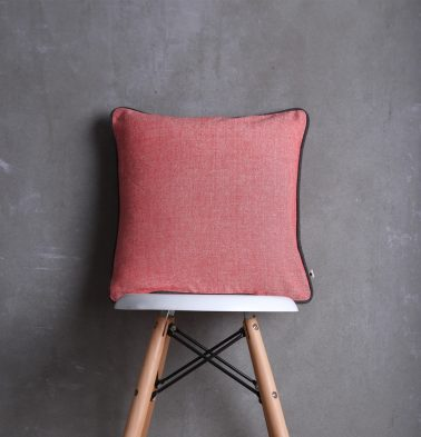 Chambray Cotton Cushion cover Bittersweet Red 16