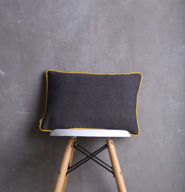 Chambray Cotton Cushion cover Grey/Yellow 12