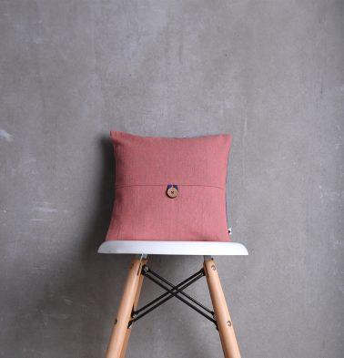 Chambray Cotton Cushion Cover Peach 12