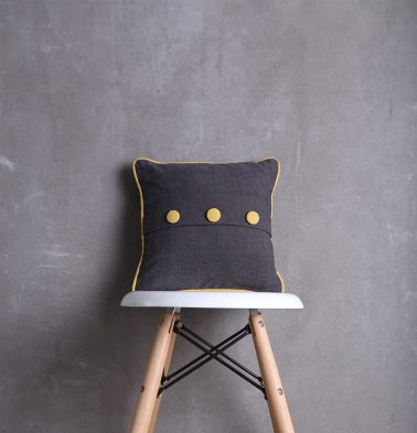 Chambray Cotton Cushion cover Dark Grey/Yellow 12