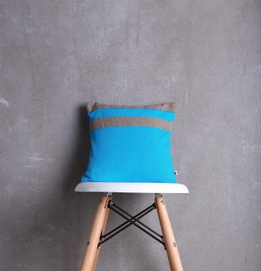 Stripe Cotton Cushion cover Blue/Beige 12
