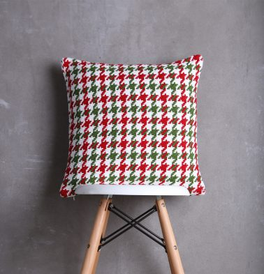 Houndstooth Christmas Cotton Cushion cover Red/Green  18
