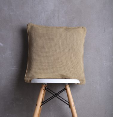 Handwoven Cotton Cushion Cover with piping Khaki Brown 18