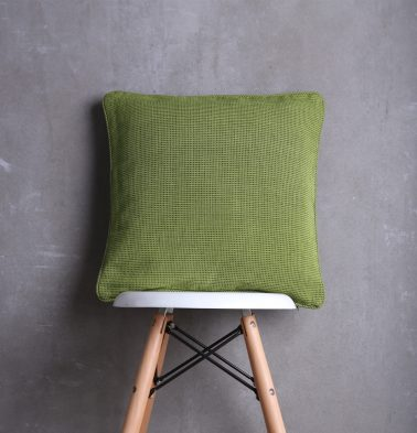 Handwoven Cotton Cushion cover Green with piping 18