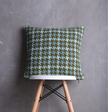 Houndstooth Cotton Cushion cover Teal Green 18