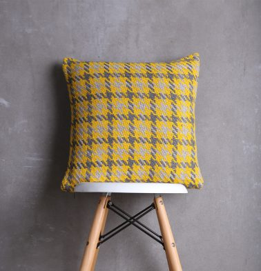Houndstooth Cotton Cushion cover Yellow Grey 18