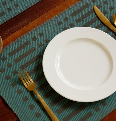 Handwoven Cotton Table Mats Dusty Turquoise Green/Black - Set of 6