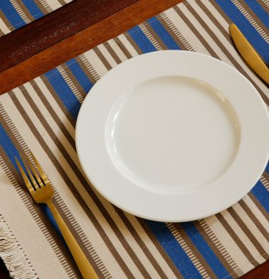 Handwoven Stripe Cotton Blue/White Table Mats - Set of 6