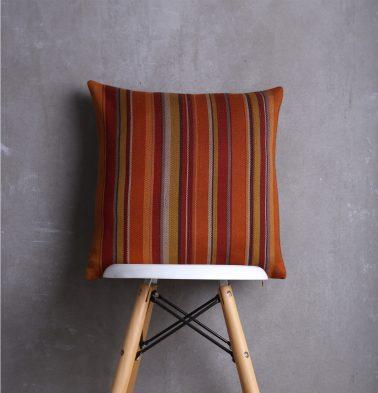 Satin Stripes Cotton Cushion cover Orange Rust 18