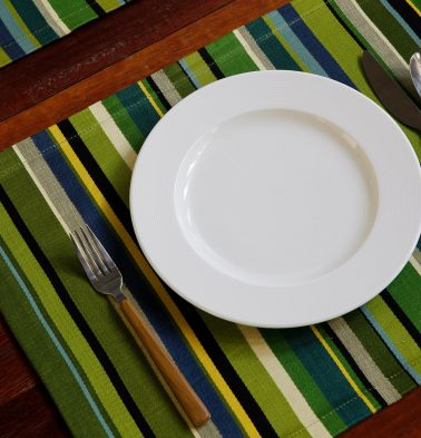 Satin Stripe Cotton Table Mats Green - Set of 6