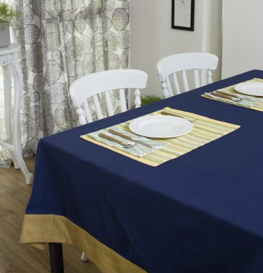 Solid Cotton Table Cloth Estate Blue/Beige 60