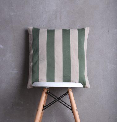 Stripe Cotton Cushion cover Beige/Green 18