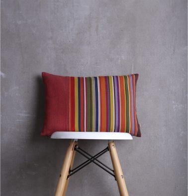 Striped Cotton Cushion cover Aurora Red/Multicolor 12