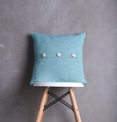 Textura Cotton Cushion Cover Teal Blue With Button 16