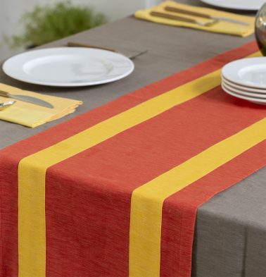 Textura Cotton Table Runner Red/Yellow 14