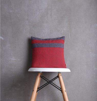 Textura Cotton Cushion Cover Maroon/Grey 12