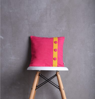 Textura Cotton Cushion Cover Pink/Yellow 12