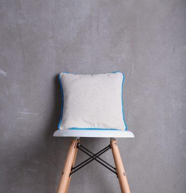 Textura Cotton Cushion Cover White/Blue 12
