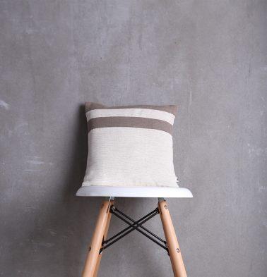 Textura Stripes Cotton Cushion Cover Beige/Brown 12