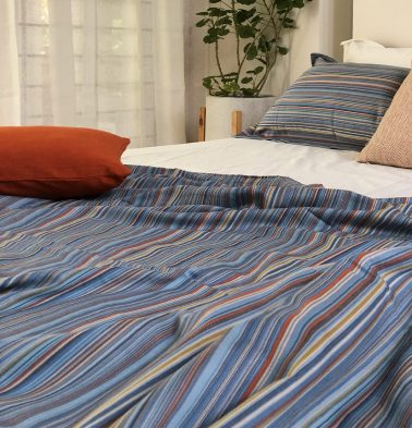 Woven Stripes Cotton Duvet Cover Blue