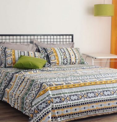 Aztec Cotton Bed Sheet – Green- With 2 pillow covers