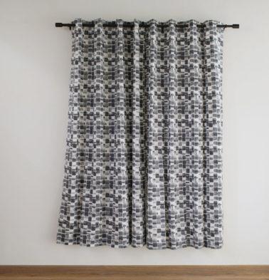 Customizable Curtain, Cotton - Brush Stroke Cubes  Black