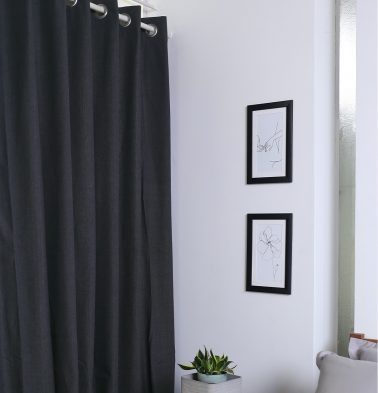 Chambray Cotton Curtain Urban Chic Dark Grey