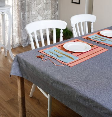 Chambray Cotton Table Cloth Drizzle Grey 60