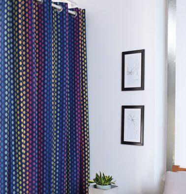 Diamond Cotton Curtain Blue