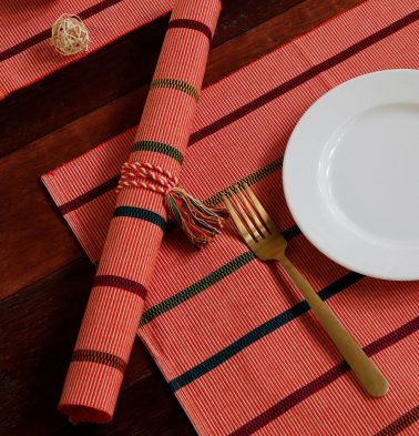 Handwoven Stripe Cotton Table Mats Pink - Set of 6