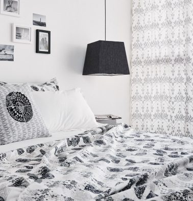 Scattered Semi Print Cotton Duvet Cover Black