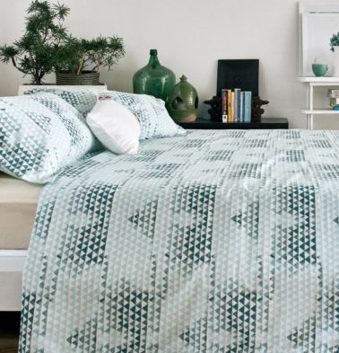 Star Triangle Cotton Duvet Cover Green
