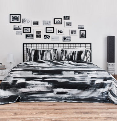 Brushstroke Cotton Duvet Cover Black