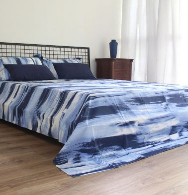 Brushstroke Cotton Duvet Cover Blue