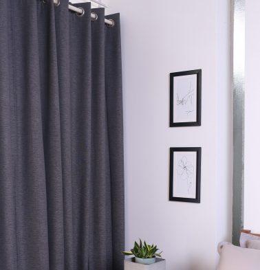 Textura Cotton Curtain Periscope Dark Grey