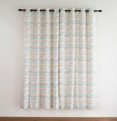 Customizable Curtain, Cotton - Wave Texture - Sea Blue