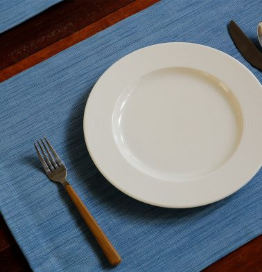 Handwoven Cotton Table Mats Light Blue- Set of 6