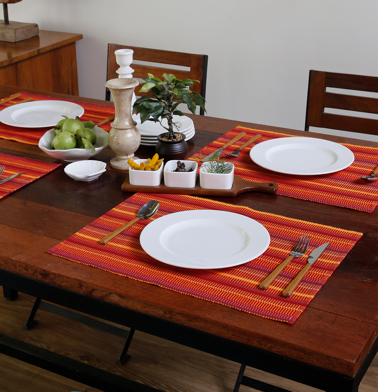Handwoven Stripes Cotton Table Mats Red Yellow Set Of 6 Thoppia