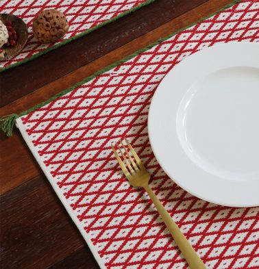 Handwoven Holiday Cotton Table Mats Red/Green - Set of 6
